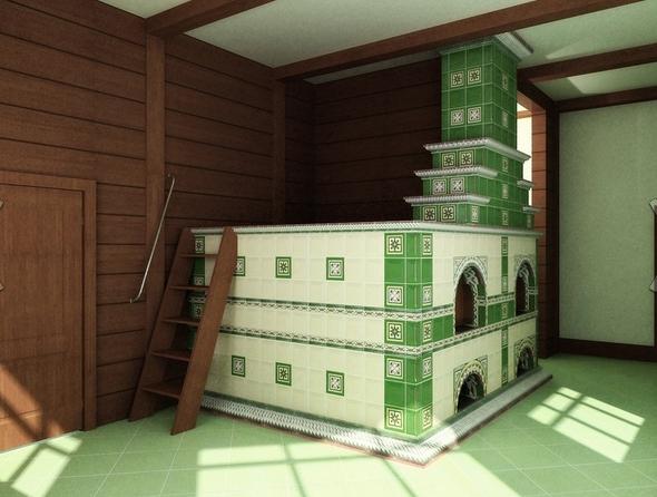 зеленая русская печь
