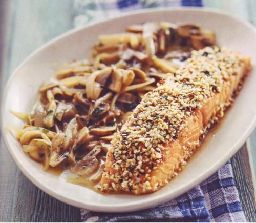 вторые блюда рецепты лосось с грибным винегретом