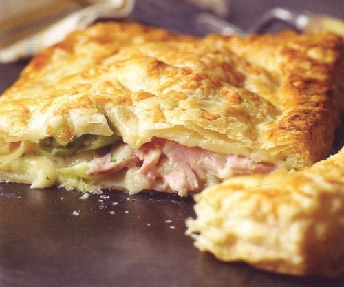 рецепт выпечки пирог с ветчиной и луком-пореем