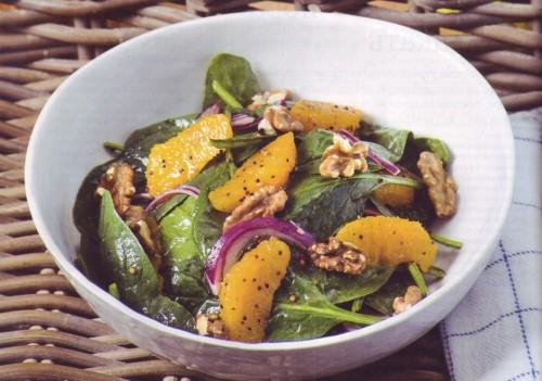 салат Тропическое утро с апельсинами и шпинатом