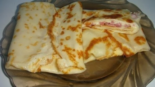 блины с сыром и ветчиной, быстрые