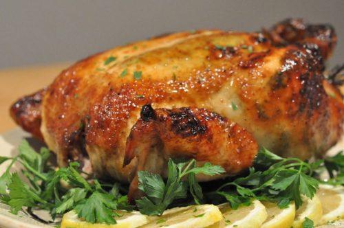 фаршированная курица с фаршем и грибами