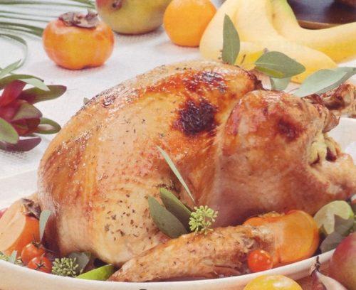 запеченная курица с хурмой